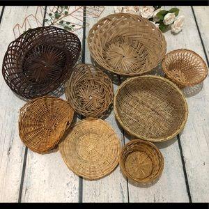 Set of 8 basket wall hanging wicker wood boho tan